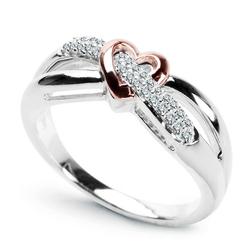 Staviori pierścionek zaręczynowy 29 diamentów, szlif brylantowy, masa 0,11 ct., barwa h, czystość i1. białe, różowe złoto 0,585. szerokość 7 mm.