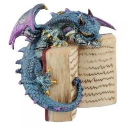 Niebieski smok z książką - figurka fantasy