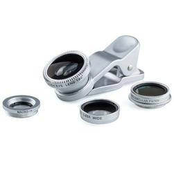 Wymienne soczewki 3w1 na telefon z klipsem srebrny