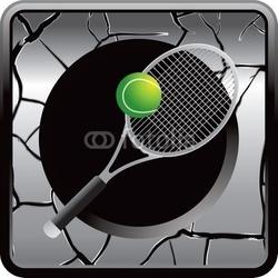 Naklejka samoprzylepna rakieta tenisowa szary pęknięty przycisk web
