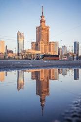 Warszawa Poranek - plakat premium Wymiar do wyboru: 61x91,5 cm
