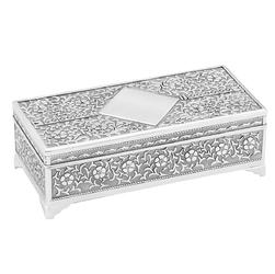 Pięknie zdobiona posrebrzana szkatułka ślub urodziny grawer - wliczony w cenę