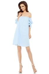 Błękitna letnia sukienka trapezowa z dekoltem carmen