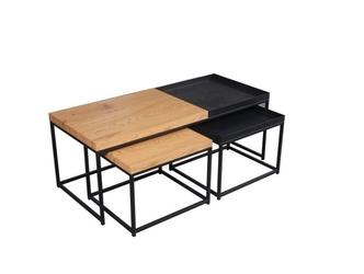Zestaw stolików do kawy loft w stylu industrialnym z czarnymi elementami