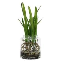 Szklana waza ze sztucznymi kwiatami - hk living