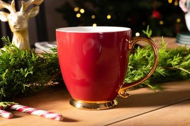 Duży kubek  filiżanka do kawy i herbaty porcelanowy altom design urban gold ciemny burgund 400 ml