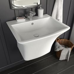 Vidaxl umywalka ścienna, ceramiczna, biała, 530 x 440 x 370 mm