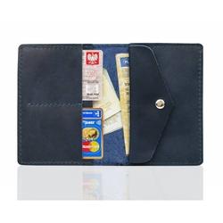 Męski skórzany portfel slim wallet brodrene sw08 granatowy