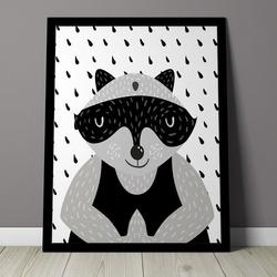 Przyjaciel szop - plakat dla dzieci , wymiary - 20cm x 30cm, kolor ramki - czarny