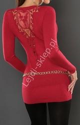 Czerwona dizninowa tunika z ozddobną koronką na plecach, 110