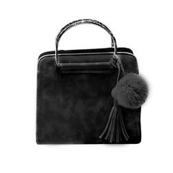 Skórzana torebka kuferek  pompon + frędzel czarna
