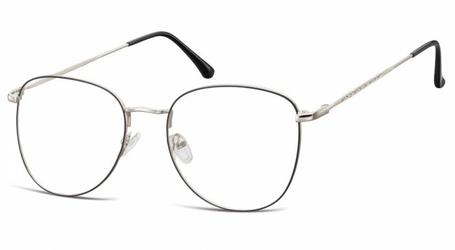 Oprawki okulary  pilotki zerówki korekcyjne 924f czarno-srebrne