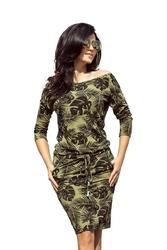 Khaki sukienka ściągana w okrągłe liście