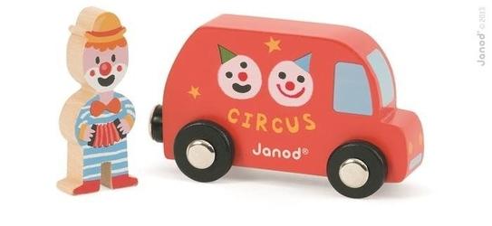 Zestaw - wóz cyrkowy i clown