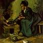 Peasant woman cooking by a fireplace, vincent van gogh - plakat wymiar do wyboru: 30x40 cm