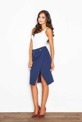 Niebieska spódnica do kolan z asymetrycznym rozporkiem