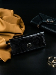 Ekskluzywny skórzany portfel damski czarny cavaldi h27-1 - czarny
