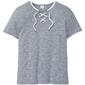 T-shirt z ozdobnym sznurowaniem bonprix ciemnoniebiesko-biel wełny melanż