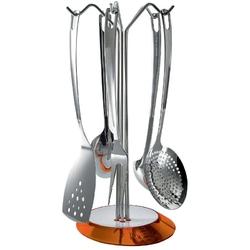 Casa bugatti - glamour - zestaw 5 przyborów na stojaku pomarańczowym - pomarańczowy