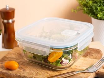 Pojemnik żaroodporny do mikrofali i piekarnika  do przechowywania z pokrywą i wentylem altom design vega kwadratowy 1,1 l