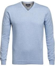 Błękitny sweter w serek  profuomo z bawełny pima xl