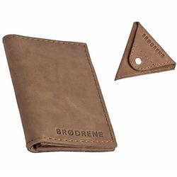 Skórzany zestaw portfel i bilonówka brodrene sw03 + cw01 jasnobrązowy - j. brązowy