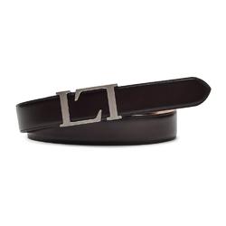 Elegancki ciemno brązowy skórzany pasek męski do spodni 90