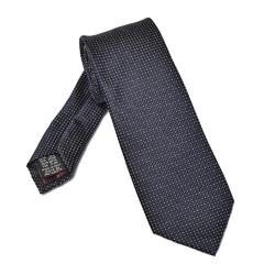 Granatowy jedwabny krawat w białe kropeczki