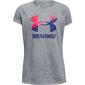 Koszulka dziewczęca under armour solid big logo ss t - czarny