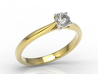 Pierścionek zaręczynowy z białego i żółtego złota brylantem ap-3530zb