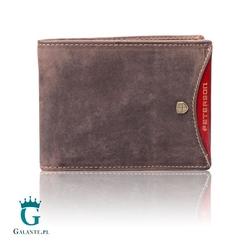 Kompaktowy portfel męski peterson 347.01 nubuk brown  red z rfid