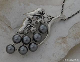 Botanica - srebrny wisiorek z perłami