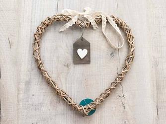 Ozdoba  zawieszka wiklinowa altom design serce brązowe z zawieszką 30 cm