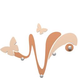 Wieszak ścienny dekoracyjny Butterfly CalleaDesign jasnobrązowy 50-13-1-23