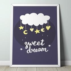 Sweet dream - plakat dla dzieci , wymiary - 30cm x 40cm, kolor ramki - biały
