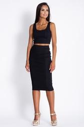 Czarny komplet krótki top z ołówkową midi spódnicą