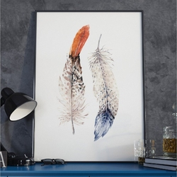 Plakat w ramie - boho feathers , wymiary - 40cm x 50cm, ramka - czarna