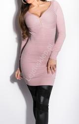 Wrzosowa bandażowa sukienka  tunika  z dzianiny, rozcięcia na plecach| fioletowe  dzianinowe 8149