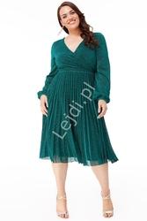 Plisowana szmaragdowa lureksowa sukienka z mieniącymi się opiłkami plus size 2410p