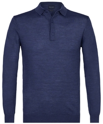 Elegancki niebieski sweter polo z długimi rękawami  xl