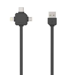 Kabel usb 3.1, usb 2.0- usb c  lightning  micro-usb, 1.5m, 3w1, czarny, powercube, płaski