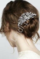 Ozdobna spinka do włosów w srebrnym kolorze z cyrkoniami