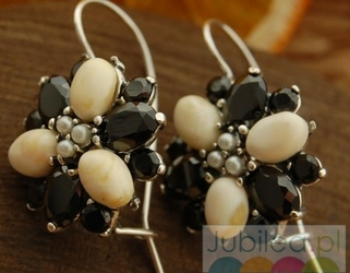 Amata - srebrne kolczyki perły, onyksy i bursztyny