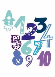Kolorowe cyfry - plakat wymiar do wyboru: 21x29,7 cm