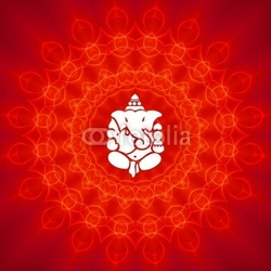 Plakat na papierze fotorealistycznym lord ganesha na tle mandali