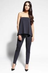 Czarna bluzka -top gorsetowa rozkloszowana
