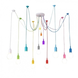 Kolorowa lampa loft żyrandol pająk oplot spider 12