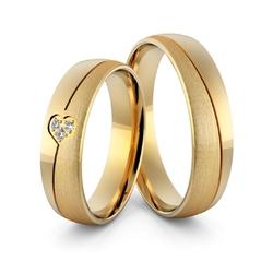 Obrączki ślubne z sercem i brylantami - au-971