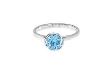 Pierścionek srebrny z kryształem swarovski kolor aquamarin