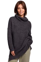 Damski sweter oversize z golfem - antracyt